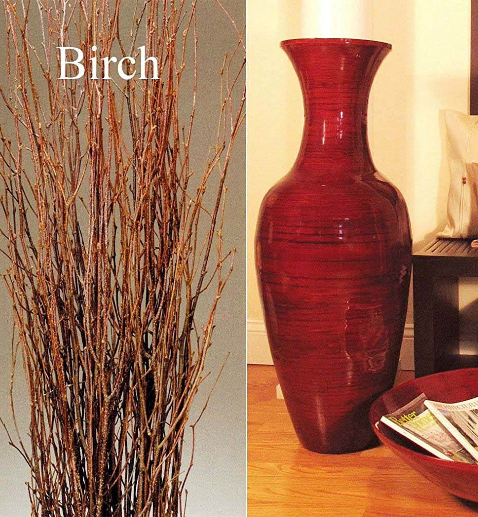 "Green Floral Crafts 36"" Classic Mahogany Red Bamboo Floor Vase & Birch Branches"