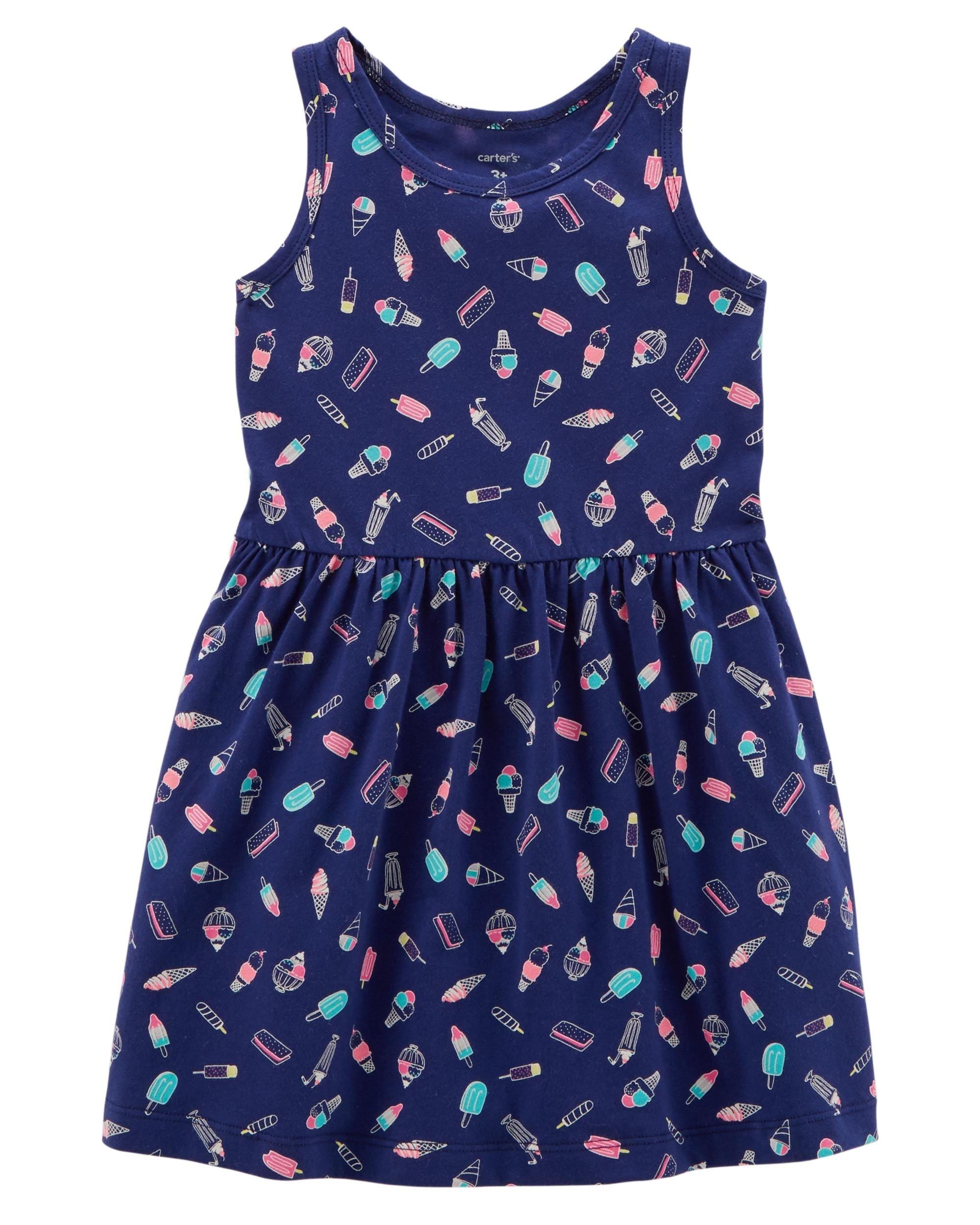 Carter's Girls' 2T-8, Lightweight Cotton Jersey Tank Dresses (Navy/Ice Cream, 5T)