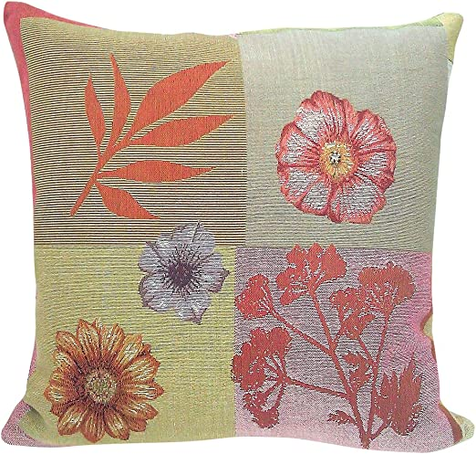 Corona Decor French Woven Coral Pattern Round Pillow
