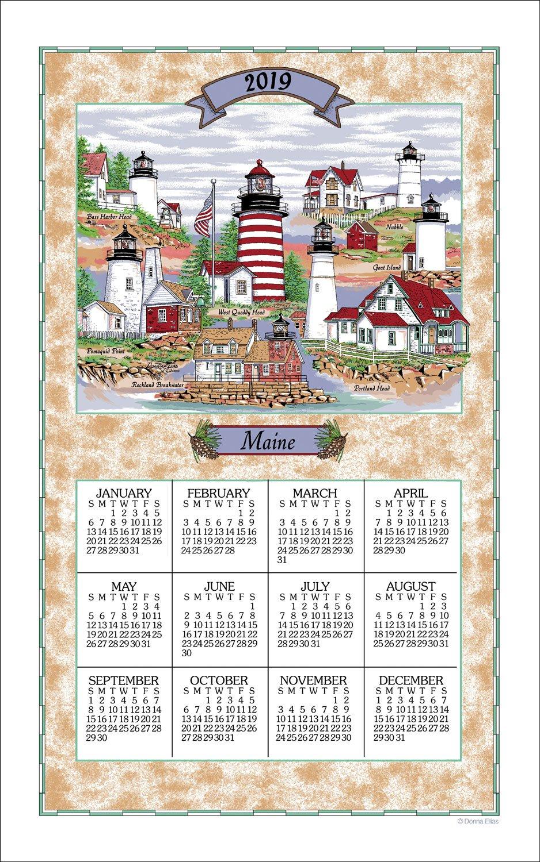 2019 Lighthouses of Maine Linen Calendar Towel (F3292)