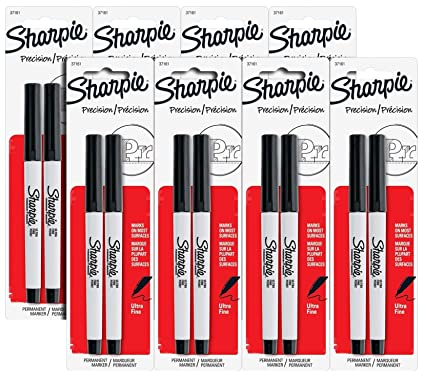 Sharpie Precision Permanent Markers, Ultra Fine Point, Black Ink, Pack of 16 Markers