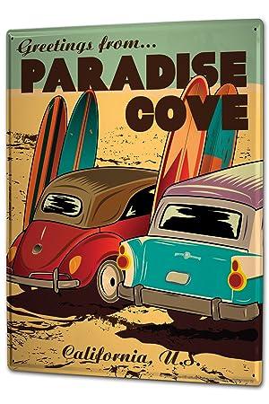 Cartel Letrero de Chapa XXL Retro Saludos desde tablas de surf de playa Paradise Cove California: Amazon.es: Coche y moto