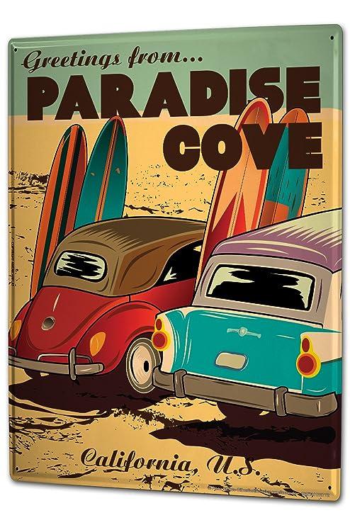 Cartel Letrero de Chapa XXL Retro Saludos desde tablas de surf de playa Paradise Cove California
