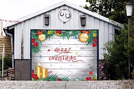 merry christmas full color for single car garage holiday banner door murals covers outdoor decor billboard