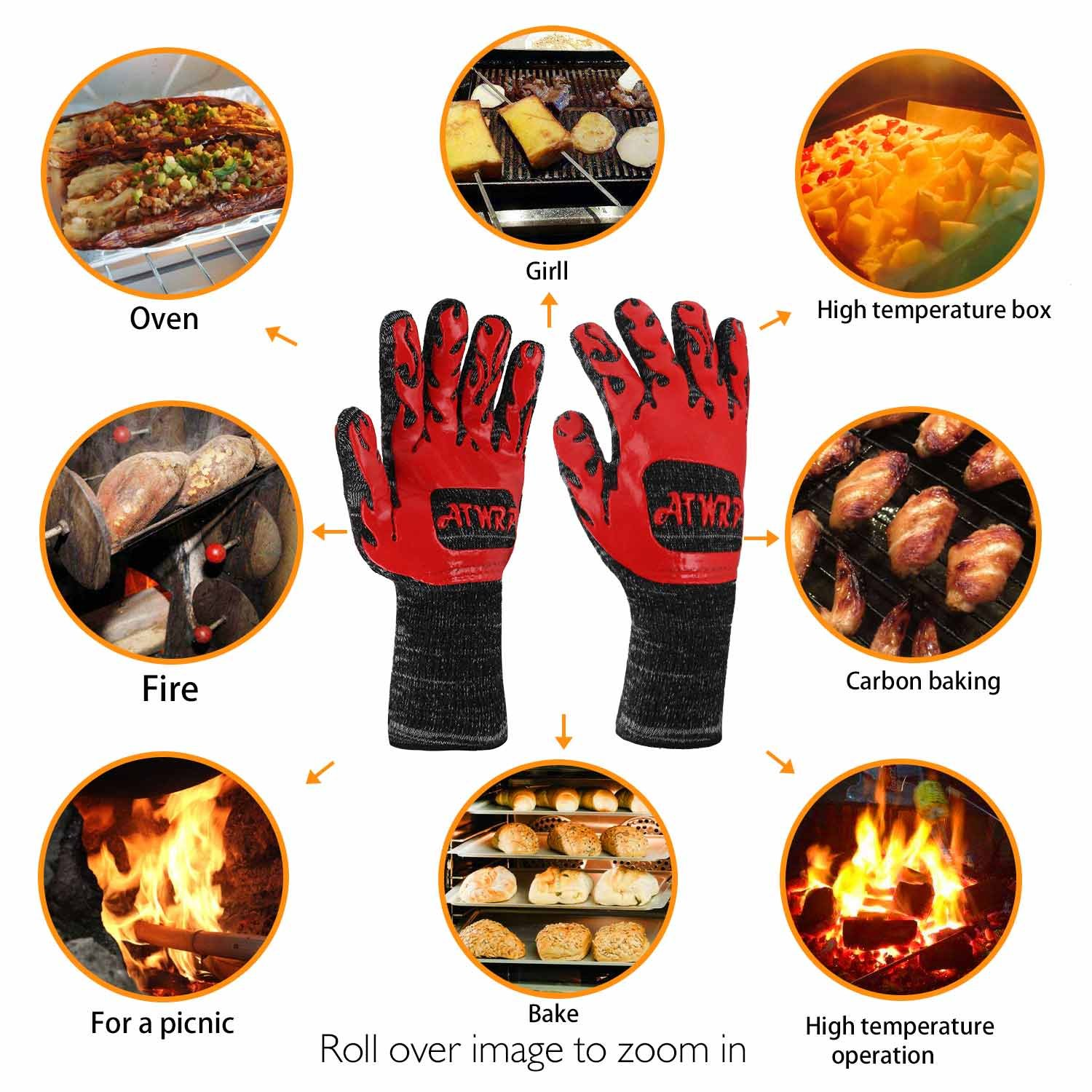 ATWRP FIREPROOF 932°F Extreme Heat Resistant BBQ Gloves by for Cooking Grilling Barbecue Charcoal Grill Smoker Tools Hot Ovens with Fingers Double Layered by ATWRP (Image #4)