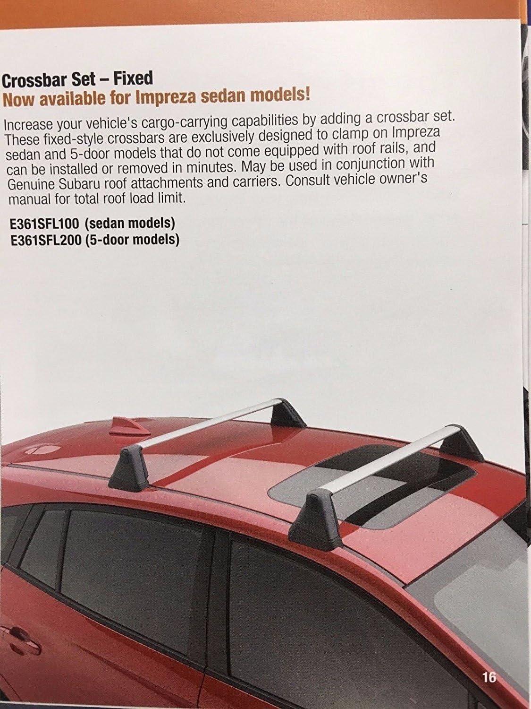 Subaru 2012-2016 Impreza Fixed Roof Rack Kit Cross Bar Set E361SFJ001 Genuine oe