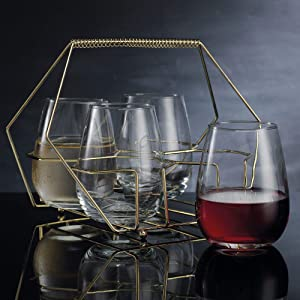 Home Essentials Cellini 5 Pieces Gold Stemless Glass Caddy