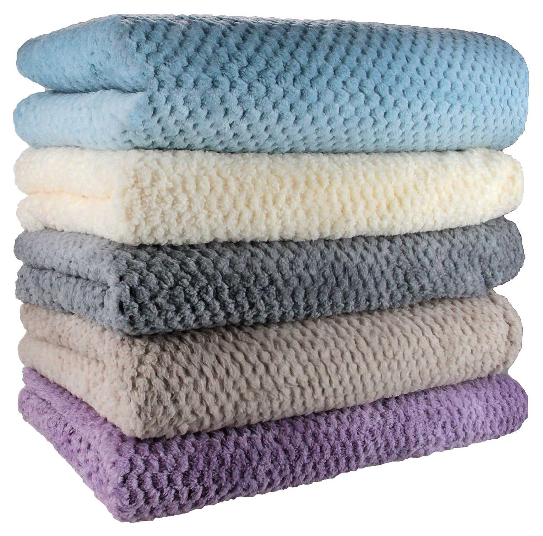 colcha, manta viviente, Mantas y colchas, lana súper suave, 130 cm x 180 cm, natural: Amazon.es: Hogar