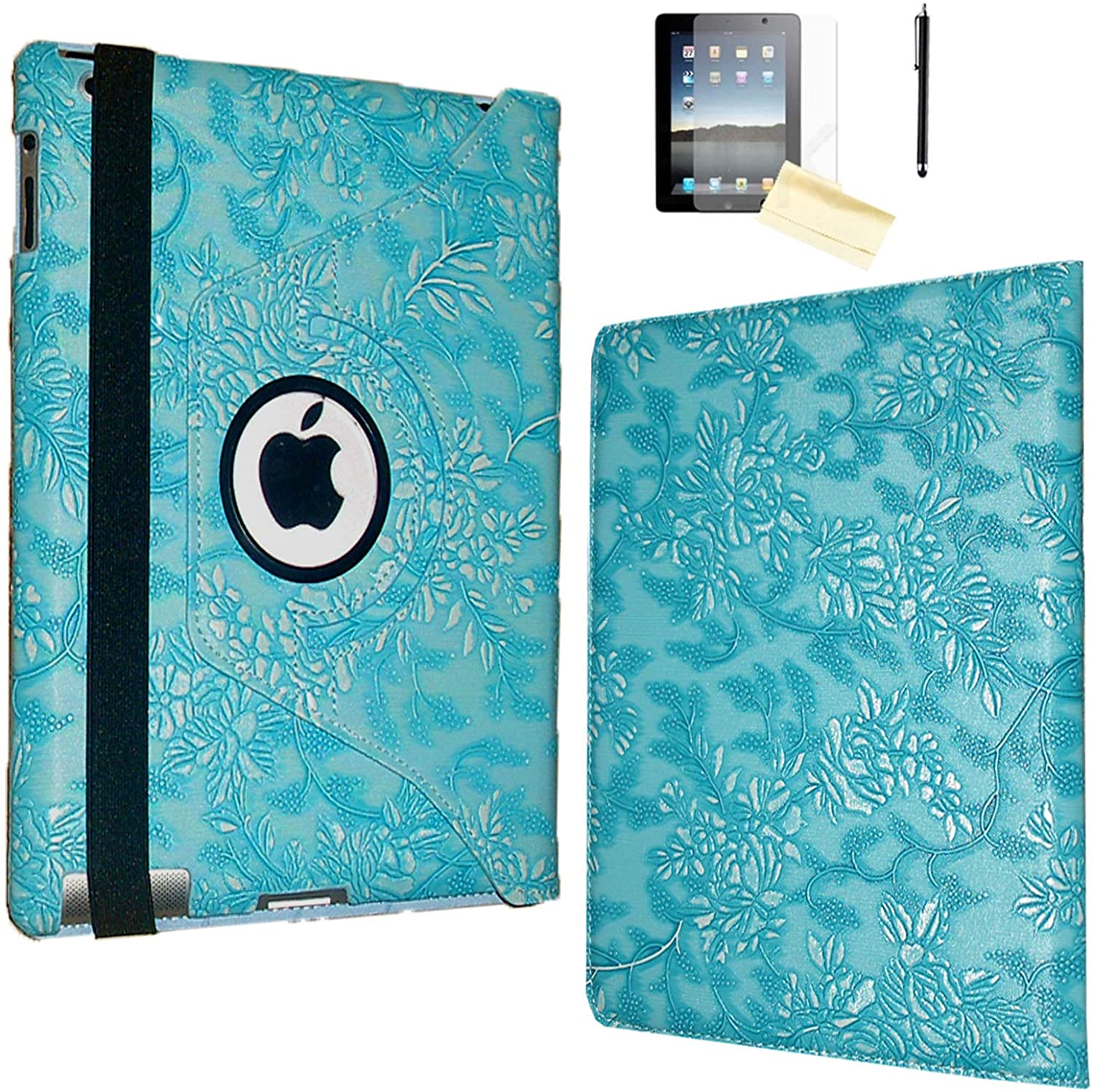 iPad 2 Case, iPad 3 Case, iPad 4 Case, JYtrend Rotating Stand Smart Case Cover Magnetic Auto Wake Up/Sleep for A1395 A1396 A1397 A1403 A1416 A1430 A1458 A1459 A1460 (Embossed Blue Flower)