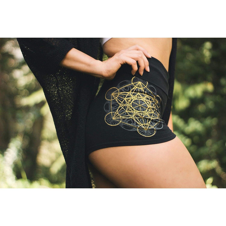 4c95ef2d290e Amazon.com: Metatron's Cube Mandala High Waisted Hot Shorts - Yoga Shorts -  Womens Festival Shorts - Sacred Geometry Shorts - Roll Top Yoga Shorts:  Handmade