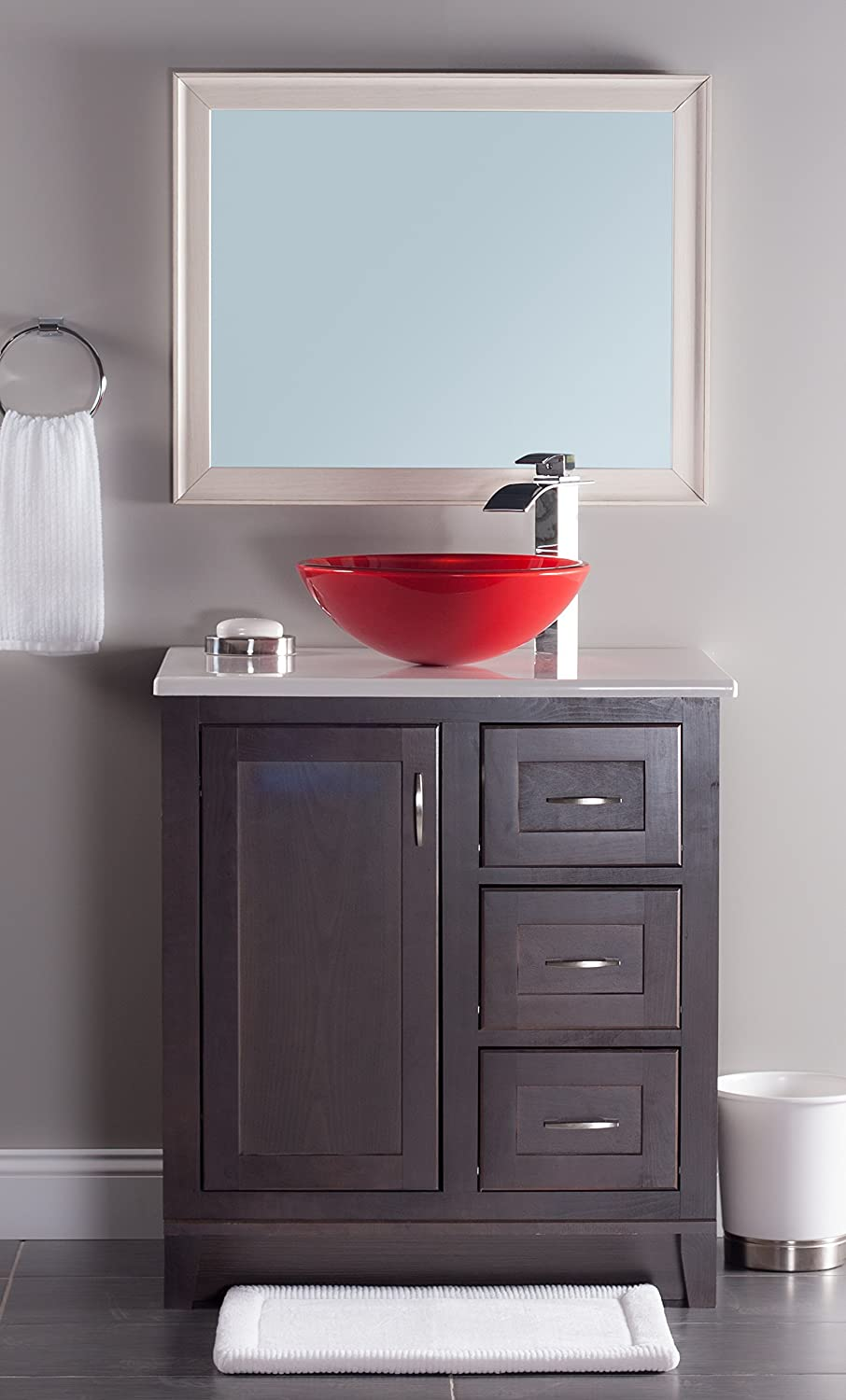 Novatto TIG-8305 16.5-Inch Diameter Round Double Layer Glass Vessel Sink Clear Red