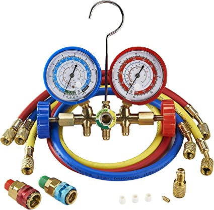 OrionMotorTech Professional AC Diagnostic Manifold Gauge Set for R12 R134A R502 Refrigerants with Couplers and 1//4 male to 1//2 female ACME Adapter R22