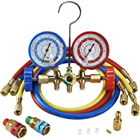 Orion Motor Tech 3FT AC Diagnostic Manifold Freon Gauge Set for R134A R12, R22, R502 Refrigerants, with Couplers and Acme Adapter