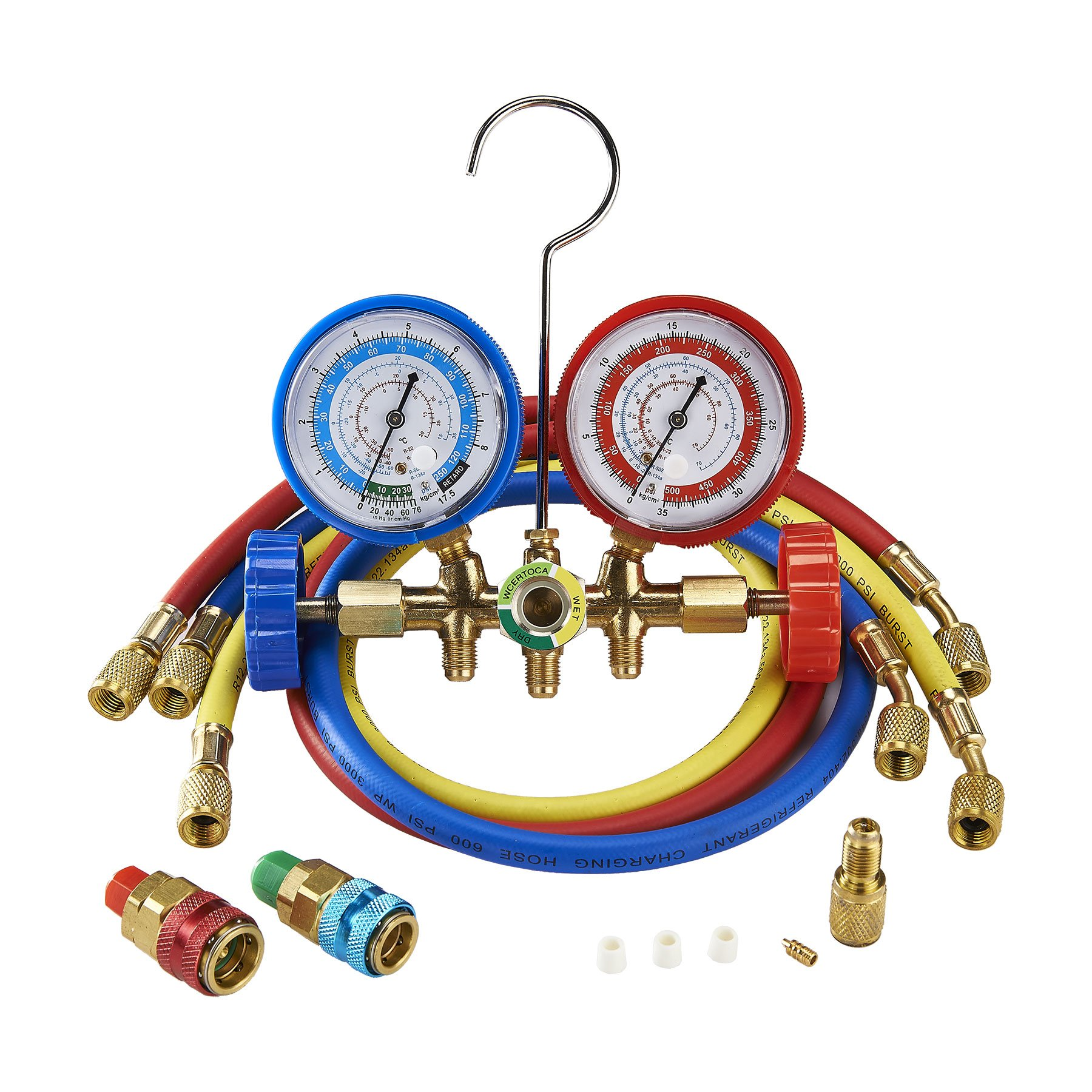 OrionMotorTech 3FT AC Diagnostic Manifold Freon Gauge Set for R134A R12, R22, R502 Refrigerants, with Couplers and Acme Adapter