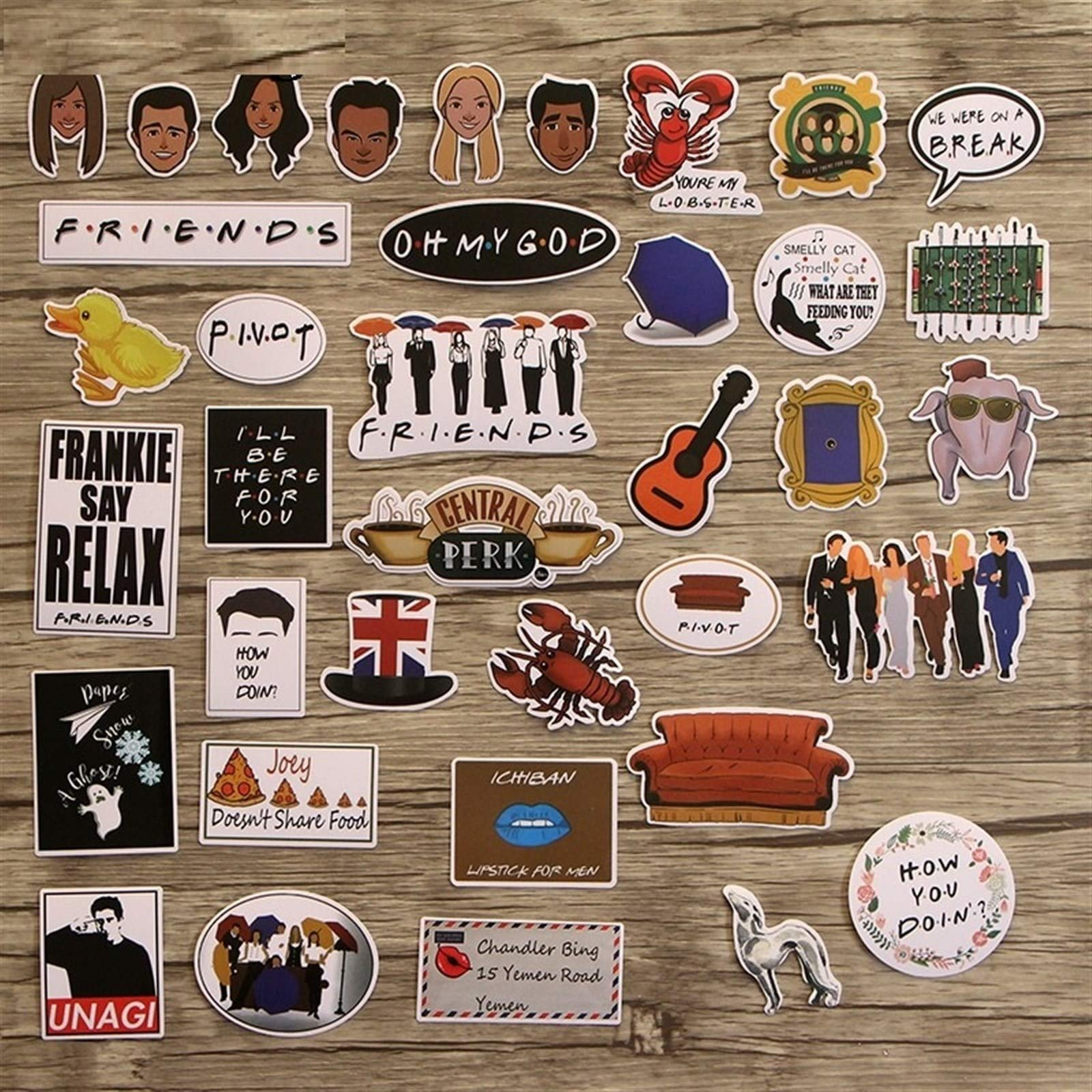 Your store 33pcs Friends tv Show Funny Creative Badges DIY Decorative Stickers Cartoon PC Wall Notebook Phone Home Garden by Your store (Image #2)