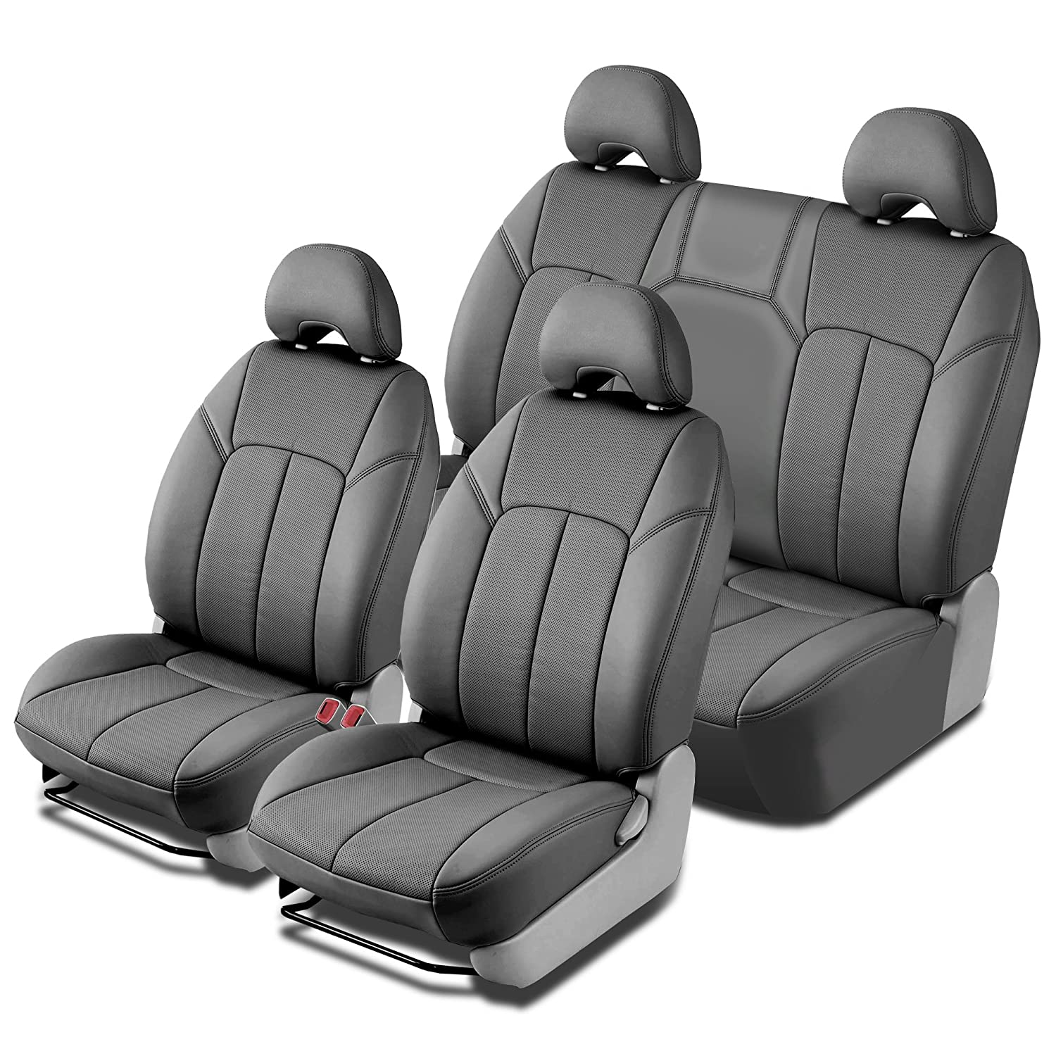 Clazzio 245522gry Grey Leather Front and Rear Row Seat Cover for Toyota Rav4 Base