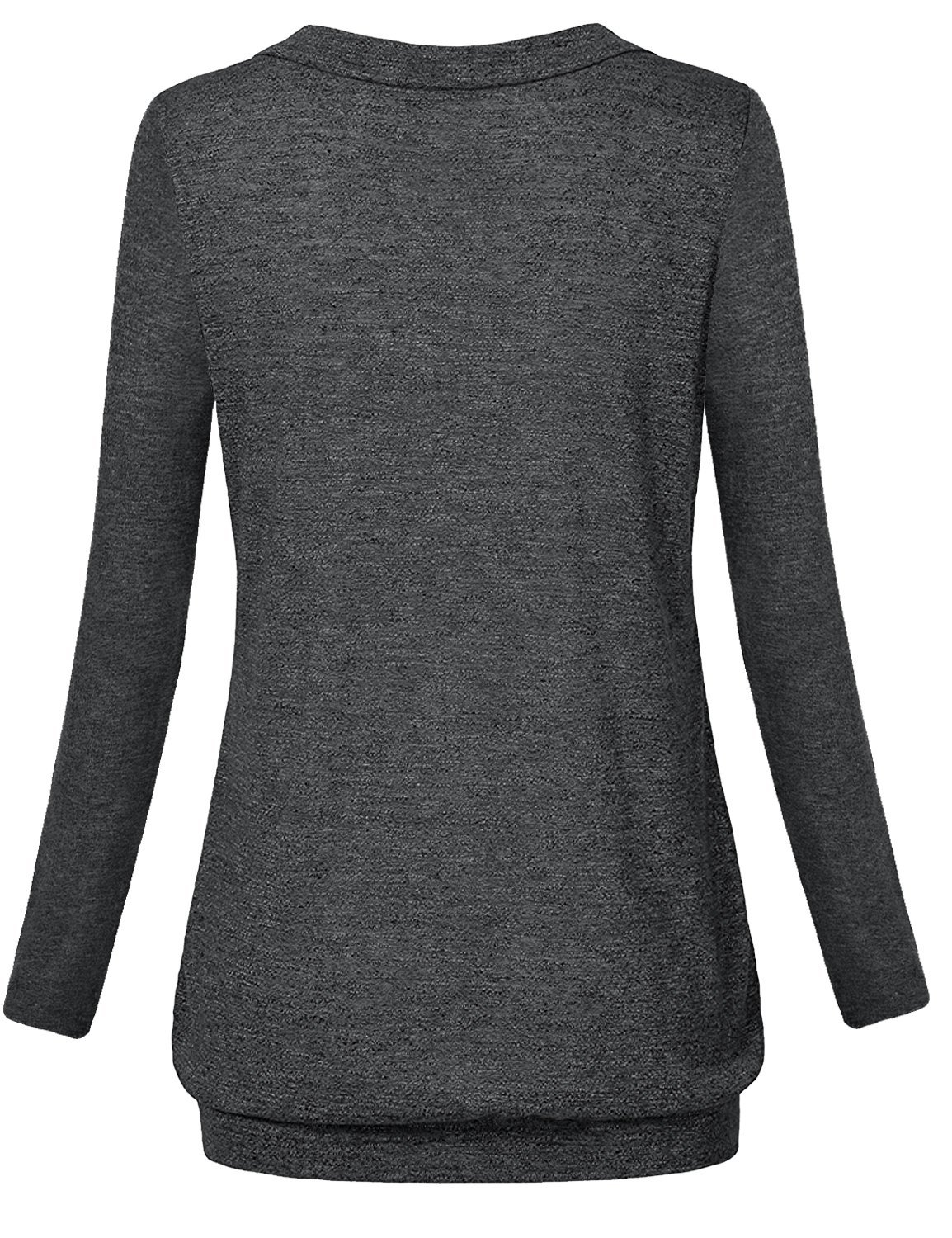 Hellmei Trendy Tops for Women 2018,Breastfeeding Shirts for Women, Long Sleeve Banded Hem Pleated Flattering Blouse Tunic Shirts for Women Black Grey Medium by Hellmei (Image #3)