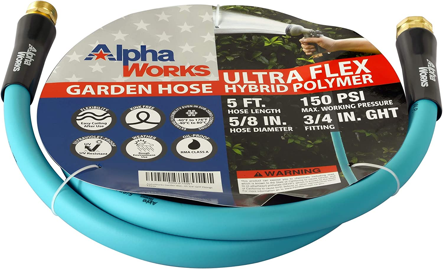"""AlphaWorks Garden Water Hose 5/8"""" Inch x 5' Foot Heavy Duty Premium Commercial Ultra Flex Hybrid Polymer Lead-in Hose Max Pressure 150 PSI/10 BAR with 3/4"""" GHT Fittings"""
