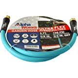 "AlphaWorks Garden Water Hose 5/8"" Inch x 5' Foot Heavy Duty Premium Commercial Ultra Flex Hybrid Polymer Lead-in Hose…"