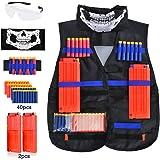 Tactical Vest, LOYO Tactical Vest Jacket Kit for Nerf Gun N-Strike Elite Series with 40Pcs Darts Bullets, 2Pcs 12-Dart Quick Reload Clips, 1Pcs 8-Dart Wrist Band, Seamless Face Mask & Goggle