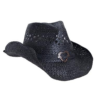 ecd4459db Boho Hip Cowboy Hat with Heart Concho, Natural Toyo Straw, Shapeable Brim
