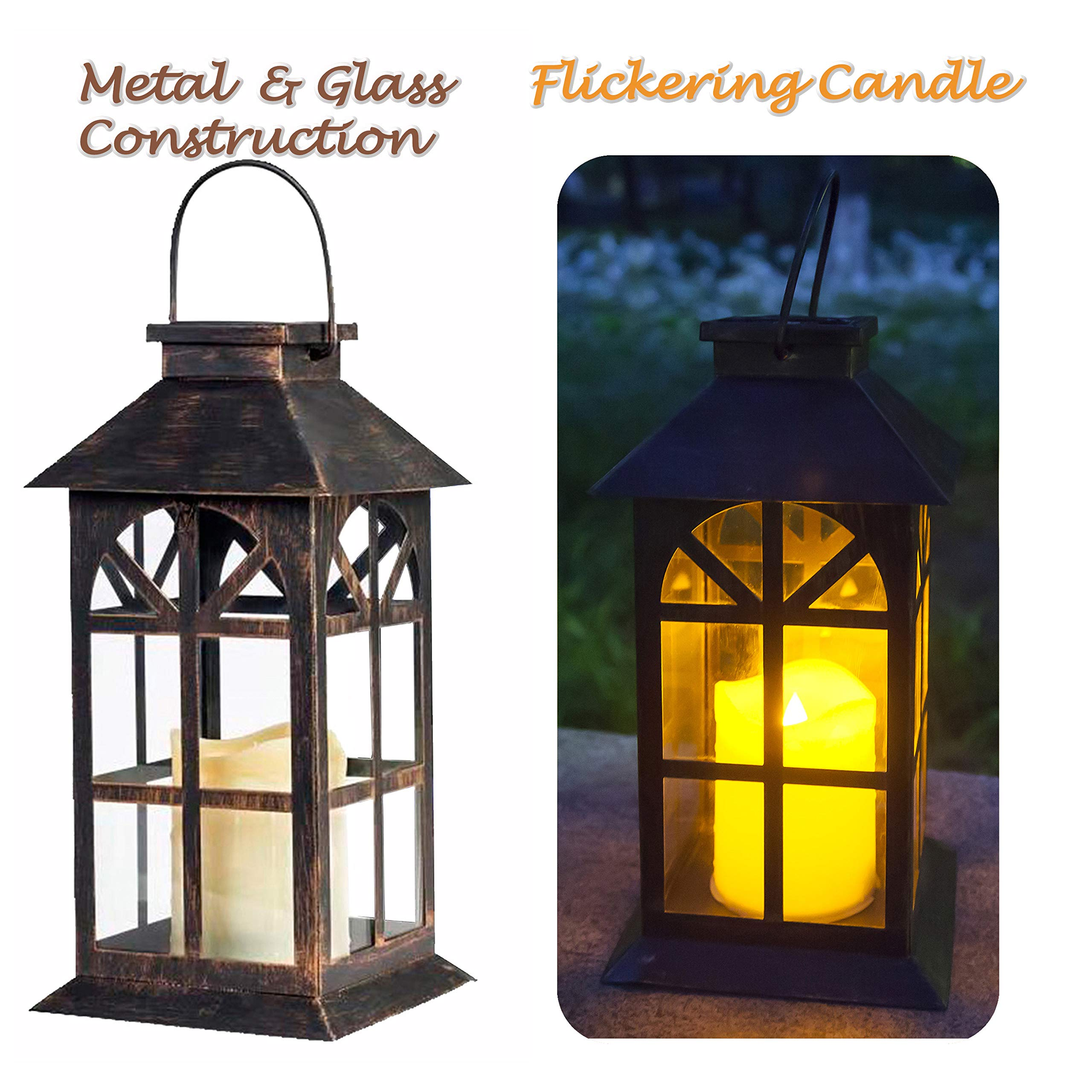 Solar Lantern Outdoor Classic Decor Bronze Antique Metal and Glass Construction Mission Solar Garden Lantern Indoor and Outdoor Solar Hanging Lantern Entirely Solar Powered Lantern of Low Maintenance by SteadyDoggie