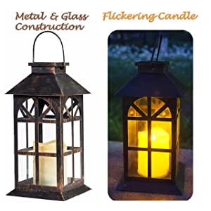 Solar Lantern Outdoor Classic Decor Bronze Antique Metal and Glass Construction Mission Solar Garden Lantern Indoor and Outdoor Solar Hanging Lantern Entirely Solar Powered Lantern of Low Maintenance