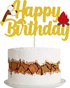 MAGBEA Camping Birthday Cake Topper Happy Birthday Sign Decoration Lumberjack Woodlands Camping Campfire Tent Themed for Kids Baby Shower Birthday Party Decorations Supplies