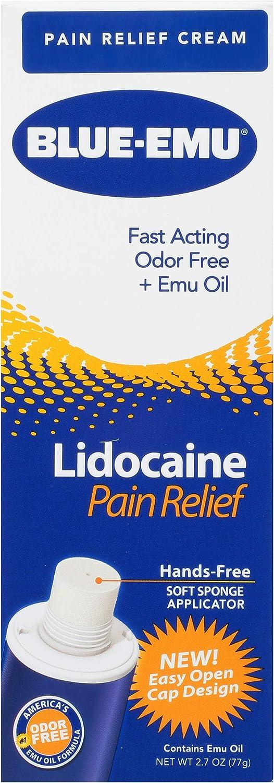 Blue-Emu Lidocaine Pain Relief Cream Maximum Strength Numbing Pain Relief Cream, 2.7 Ounce