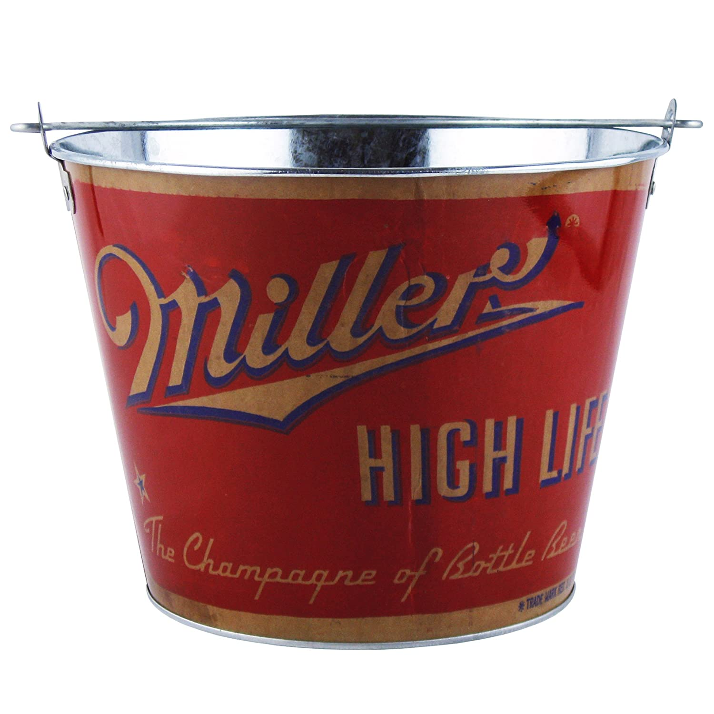 Boelter Brands Miller Retro Metal Bucket, 5 Quarts, Red 428379