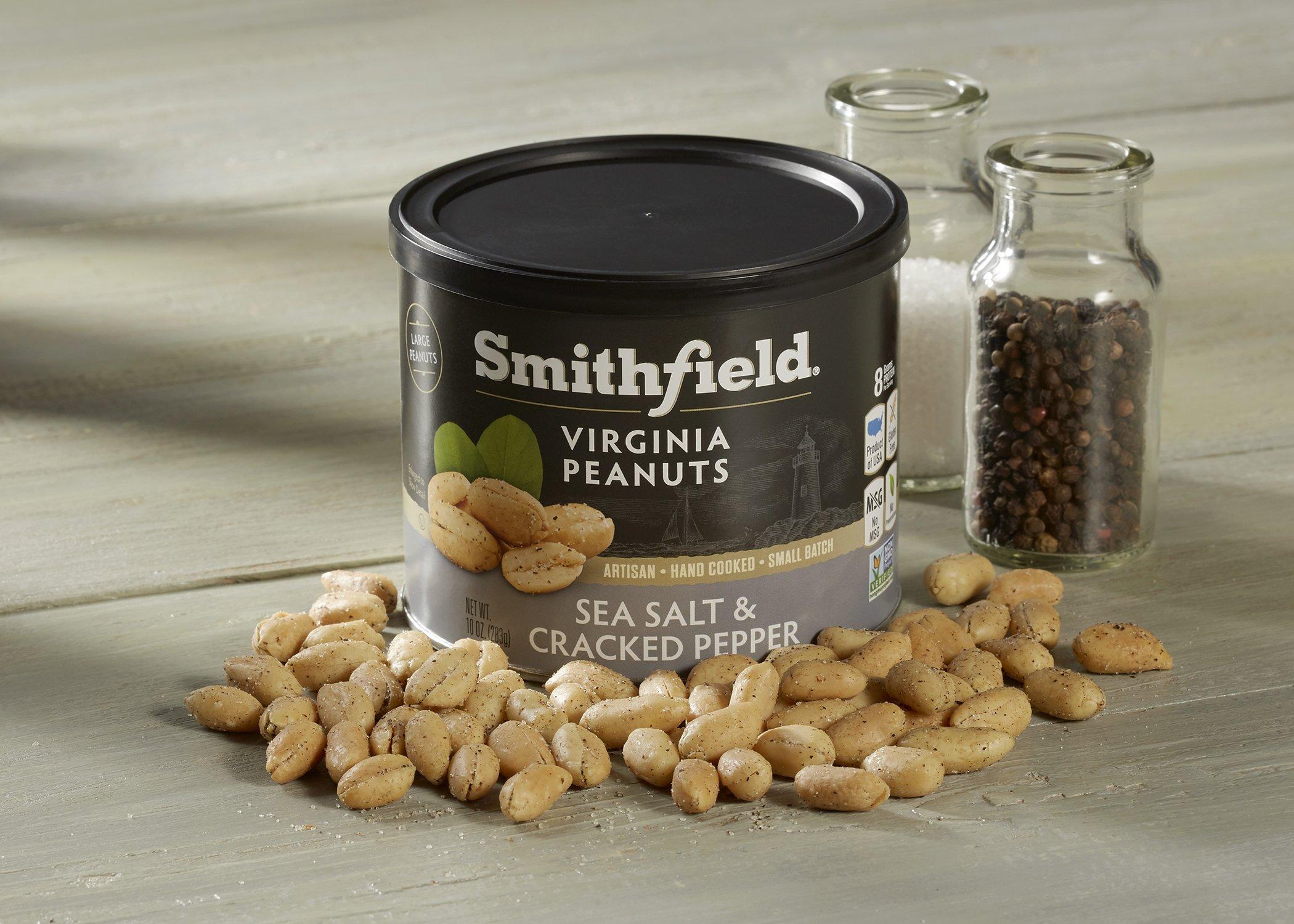 Smithfield Specialty Foods Sea Salt & Cracked Pepper Virginia Peanuts, Sea Salt and Cracked Pepper, 10 Ounce