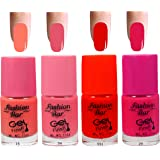Fashion Bar 15 34 551 29 Nail Polish Combo,Peach Neon Pink , Neon Red ,Redish Pink,20ml,Pack of 4
