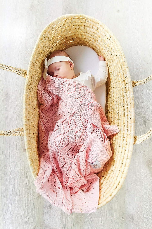 Elimeli Babydecke Wolldecke Gestrickt Kuscheldecke 100/% Merino Schurwolle perfekt f/ür Babys in Geschenkverpackungen Antiallergikum SuperSoft Grey