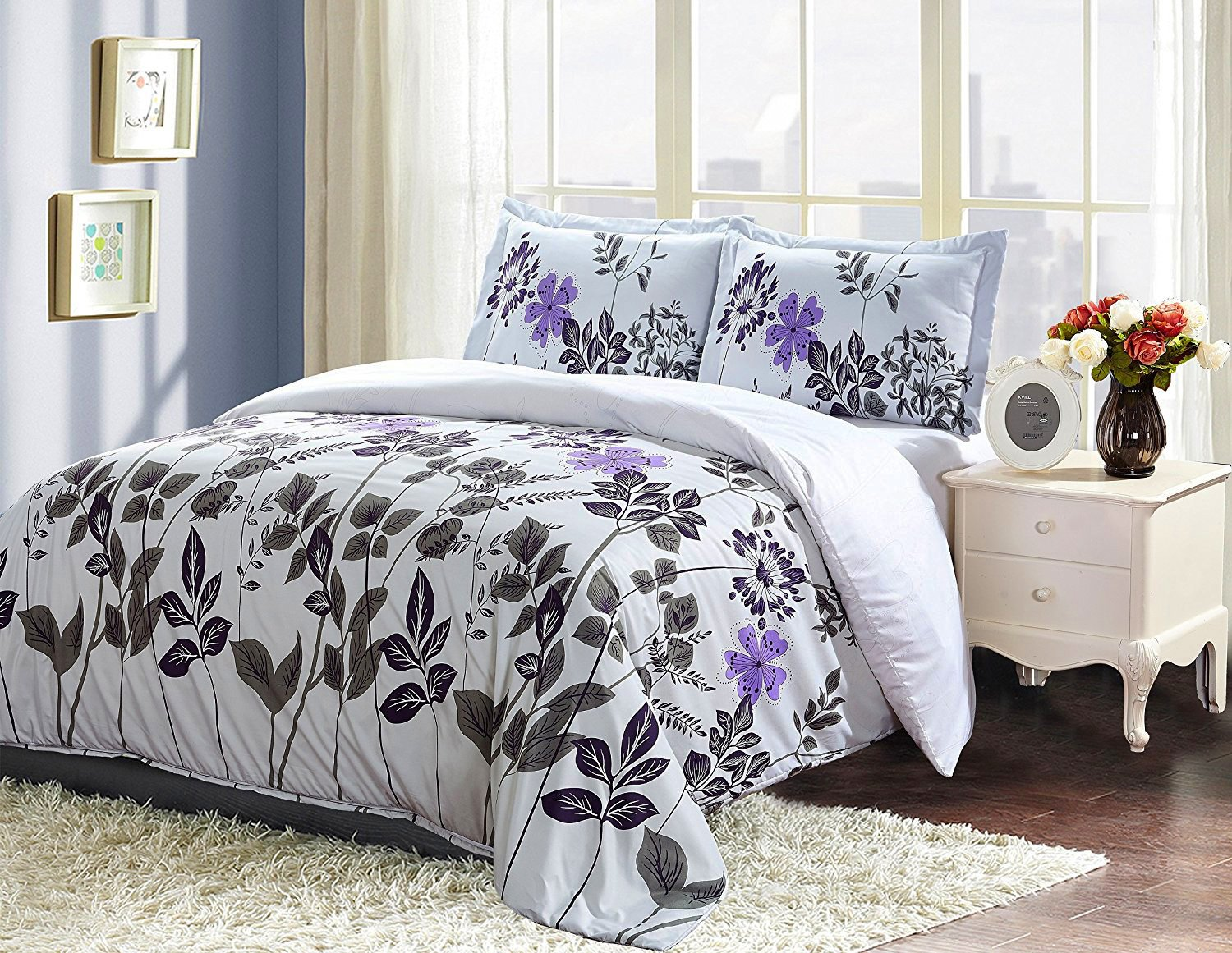 Floral Design Duvet Cover Set King, Light Grey Brushed Microfiber