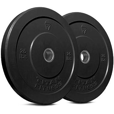Titan Fitness Pair 25 lb Olympic Bumper Plate Black Benchpress Strength Training