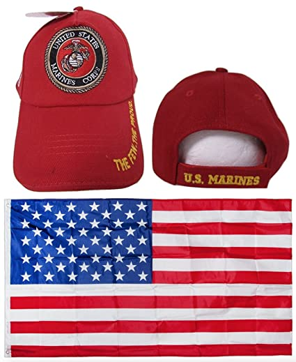 de6fefbe5e7 USMC Marines Marine Corps Red The Few The Proud Gold Letter Embroidered Hat  Cap   USA