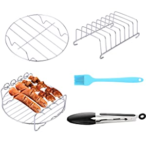 Air Fryer Accessories 5PCS for GoWISE COSORI Philips Ninja Air Fryer, Fit 3.2- 5.8QT Deep Hot Air Fryer with Skewer Rack,Metal Holder, Toast Rack, Oil Brush, Food Tong, Dishwasher Safe BPA Free