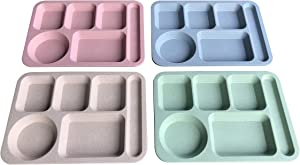 "Euodia Wheat Straw Plastic Divided Plates for Adults, School Lunch Trays for Kids & Toddlers, Fast Food Trays / Cafeteria Trays with Compartments, Size 14"" x 10"", Assorted Colors (Set of 4)"