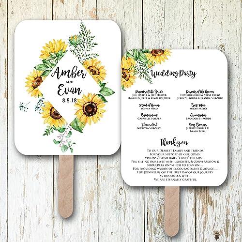 Amazon.com: Sunflower wedding fans, wedding programs, wedding