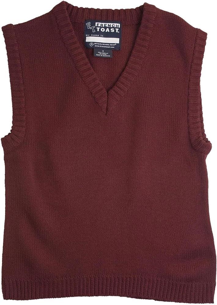 French Toast School Uniform Boys V-Neck Sweater Vest 7 Burgundy