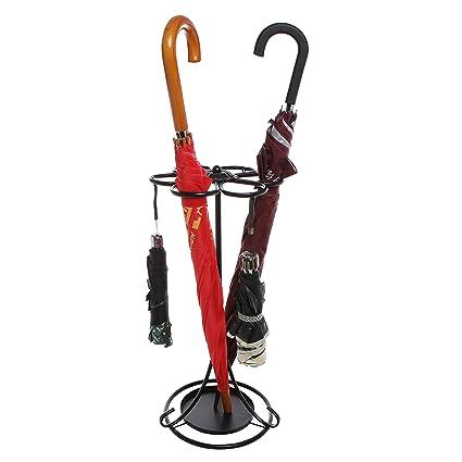 Independiente diseño de flores, entrada organizador de soporte para paraguas soporte de metal negro de