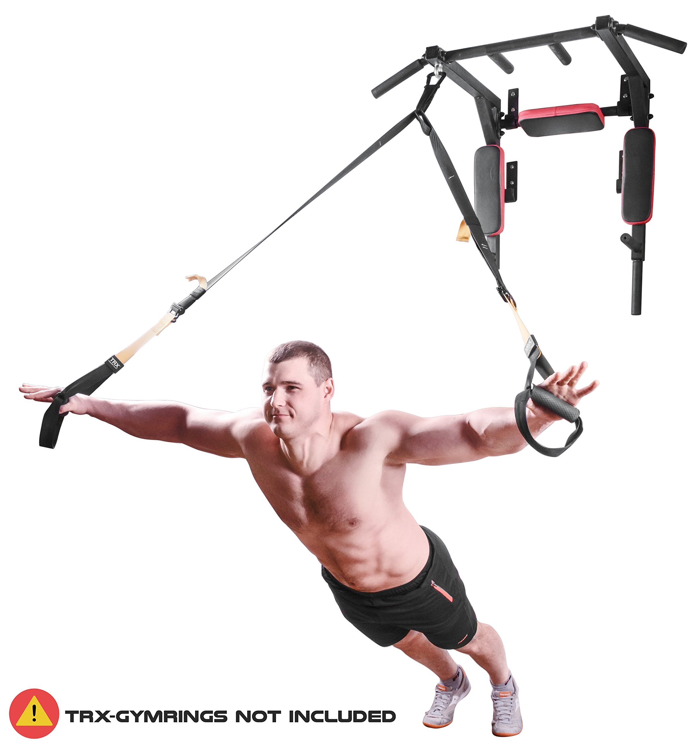 Wall Mounted Pull Up Bar - Pullup Bar Wall Mount - Chin Up Bar - Pull Up Bars and Dip Bar - Pullup and Dip Bar - Dip Station Pull Bar - Pullup Bars Outdoor and Home Room or Garage Gym Multi Grip - Pul by BAR2FIT QUALITY SPORTS EQUIPMENT (Image #7)