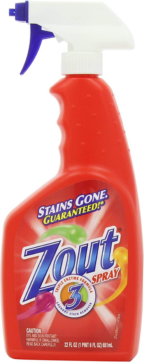 Zout Laundry Stain Remover Spray, Triple Enzyme Formula, 22 Ounce: Health & Personal Care