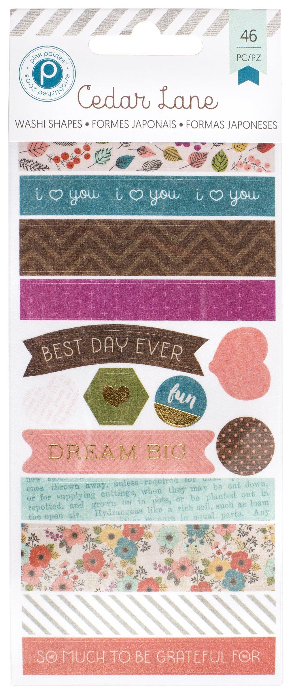 American Crafts 46 Piece Paislee 3 Sheets Cedar Lane Foil Washi Book Tape, Gold/Pink