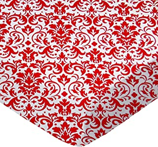 product image for SheetWorld Fitted Pack N Play Sheet - Red Damask - Made In USA