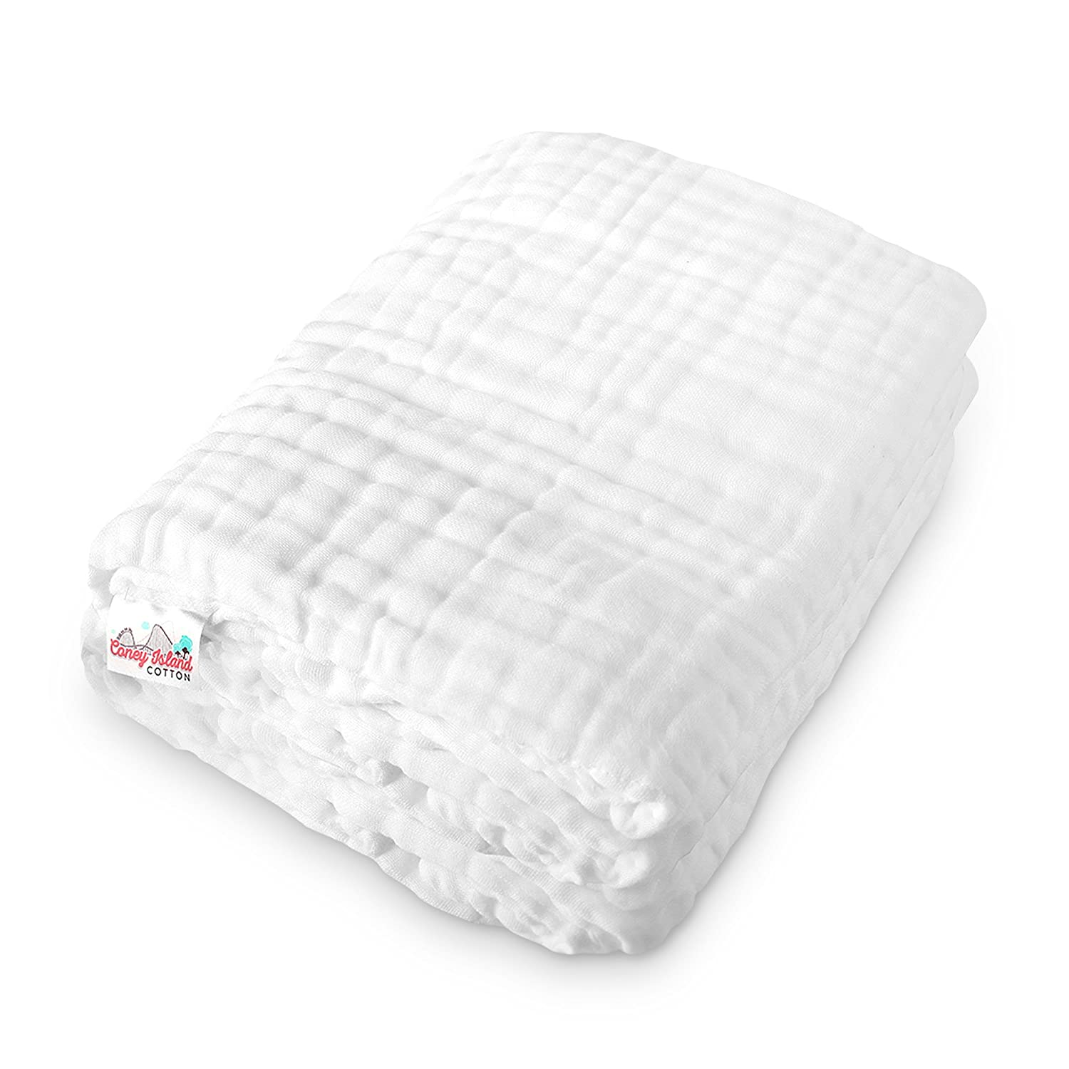 45 x 45 Inch Warm Soft /& Fluffy Muslin 6 Layer Multi Use Baby Towel /& Blanket Coney Island Cotton All-Natural Material /& Antibacterial Large White Super Absorbent