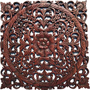 Large Wood Wall Art- Oriental Carved Wood Wall Decor. Floral Wall Decor. Asian Home Decoration. Rustic Home Decor. Size 23