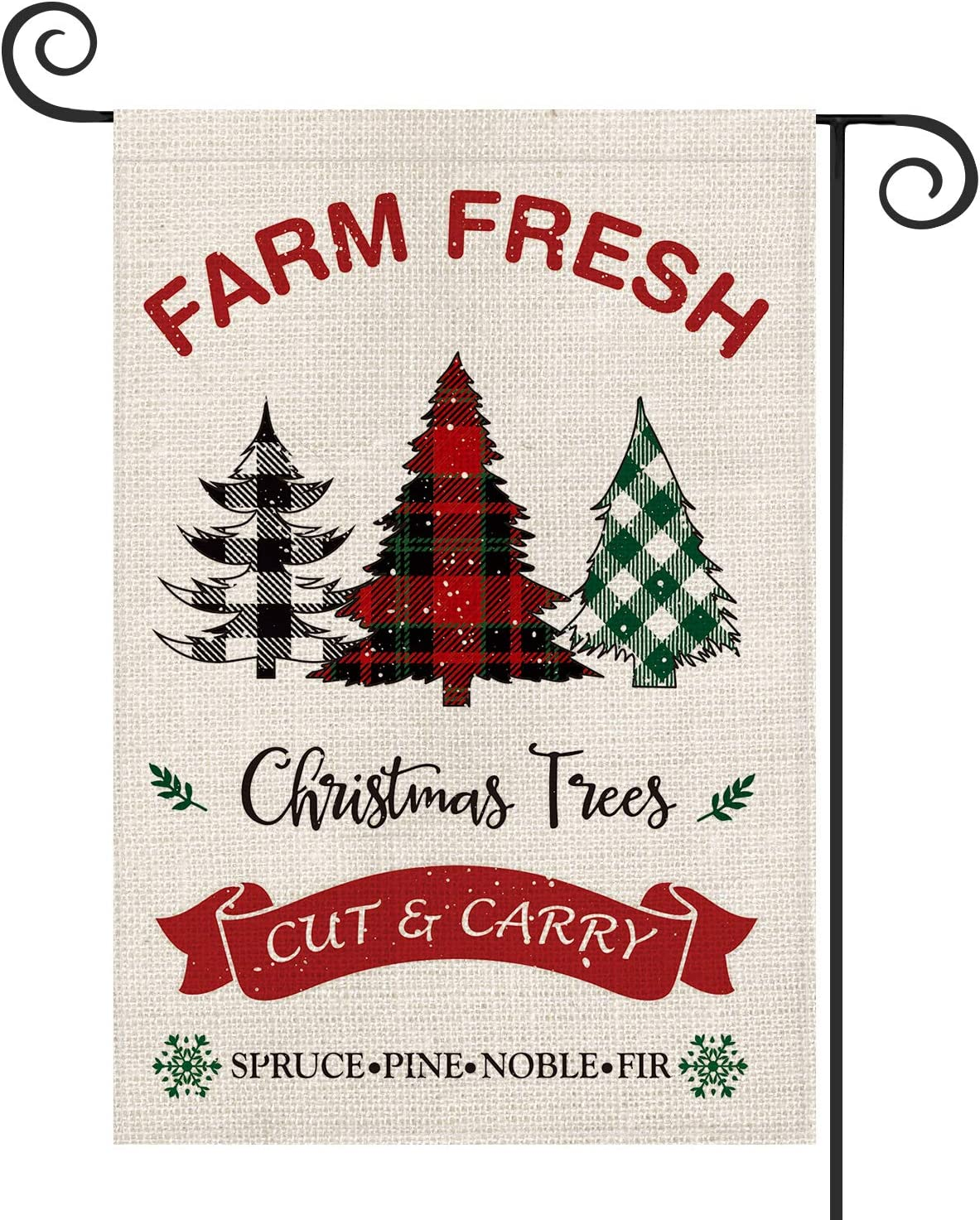 AVOIN Farm Fresh Christmas Trees Garden Flag Vertical Double Sized, Winter Holiday Buffalo Plaid Farmhouse Yard Outdoor Decoration 12.5 x 18 Inch