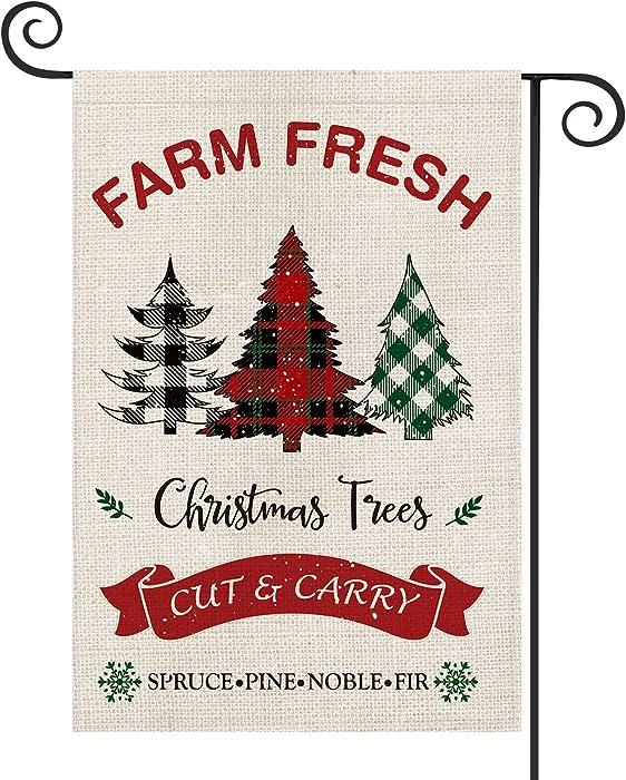 AVOIN Farm Fresh Christmas Trees Garden Flag Vertical Double Sized, Winter Holiday Buffalo Plaid Farmhouse Yard Outdoor Decoration 12.5 x 18 Inch