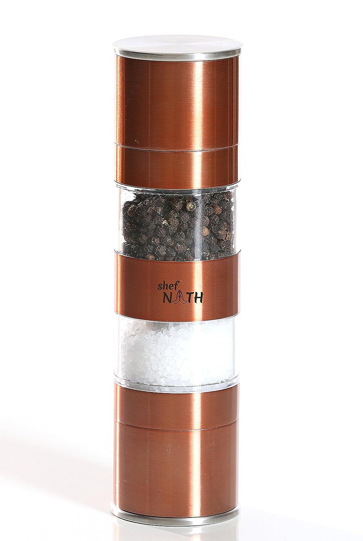 2 in 1 Stainless Steel Salt and Pepper Grinder in Copper Color with Adjustable Ceramic Rotor for Fine or Coarse Spices - Salt & Pepper Grinder Set by Shef NATH